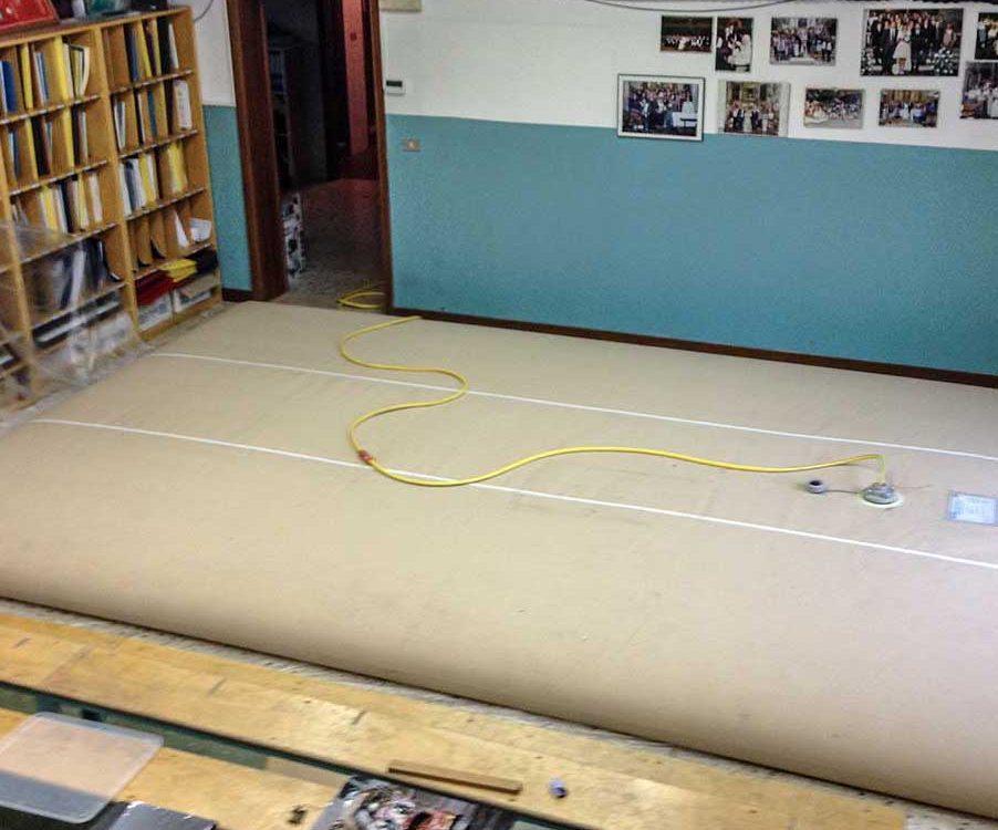Esecuzione della prova di carico presso l'oratorio di Adrara San Martino (BG)