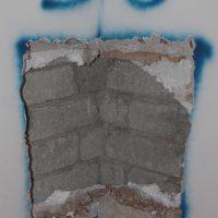 Saggio visvio per determinare il grado di ammorsamento dei blocchi in cls - Forca Canapine, Norcia (PG)