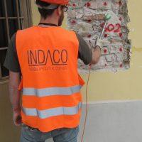 Prova sonica per la caratterizzazione della muratura - San Ginesio (MC)